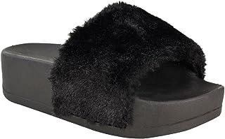 Fashion Thirsty New Womens Wedge Flatform Platform Fluffy Faux Fur Sandals Sliders Slip On
