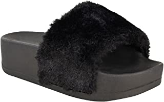 Fashion Thirsty New Womens Wedge Flatform Platform Fluffy Faux Fur Sandals Sliders Slip On