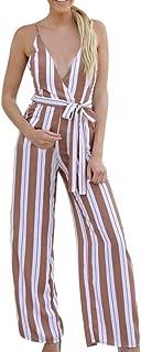 Women Jumpsuits, Limsea Camisole Stripe Print Jumpsuits Lady Loose Playsuit Long Wide Leg Trousers