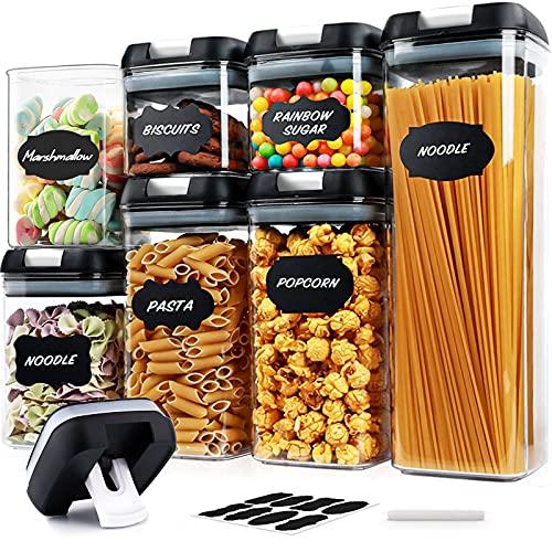 Set di Contenitori Alimentari – Contenitori Alimentari per Cereali Set 7 Pezzi, Contenitori Ermetici Alimentari Plastica con Coperchio per Alimenti Set
