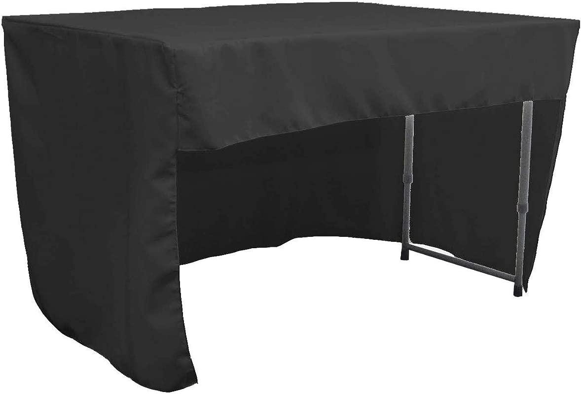 LA Linen Open Back Polyester Poplin Fitted Tablecloth 48 L W X 30 H Black