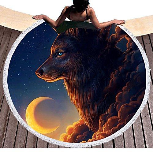 Mooie nacht wolf en maan ronde badhanddoeken met kwasten sterrennacht hemel rond strandkleed Roundie Boho Hippie ronde strandmat gooien bikini vertussen wikkelen franjes yogamat