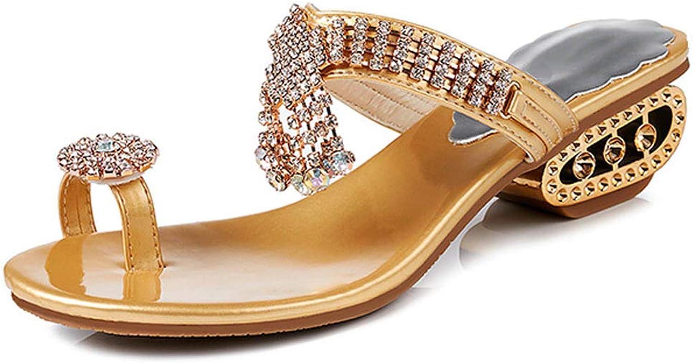 Women Summer Flat Sandals Crystal, False Rhinestone Jewelled Low Heel Platform Open Toe Slingback Strappy Boho Outdoor shoeSize,gold,5MUS