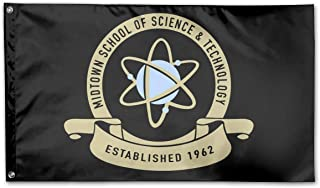 WINDST Personalized Midtown School of Science and Technology Logo Garden Flag 3x5 ft Outdoor Garden Decorative Banner Black