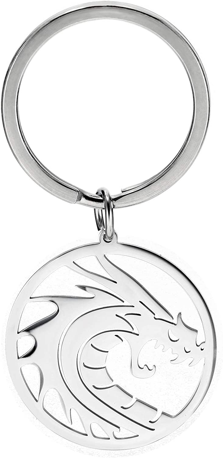 LIKGREAT Stainless Steel Flying Dragon in Circle Keychain Minimalist Round Shape Keyrings for Men Women