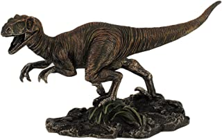 Resin Statues Highly Detailed Velociraptor Dinosaur Bronzed Statue Hand Painted Accents Raptor 8.75 X 4.75 X 3 Inches Bronze