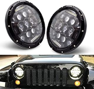 LncBoc LED Headlight for Jeep Wrangler,7 Inch 75W Round LED Headlamp with Daytime Running Light DRL High Low Beam for Jeep Wrangler Excavators Tanks Public Buildings with H4 H13 Adapter,2PCS