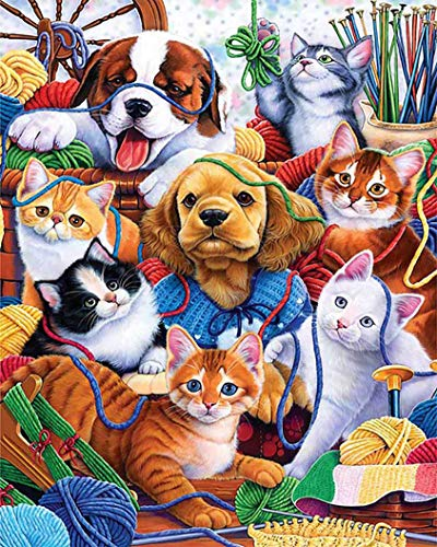 YHZSML Kits De Pintura De Diamante para Adultos,Gato Perro Diamond Painting,Bordado de Punto de Cruz Manualidades para Pared Decoración del Hogar 40x50cm
