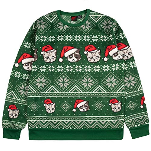 Mad Engine Men's Santa Pets Ugly Christmas Sweater, Forest Green, Extra Large