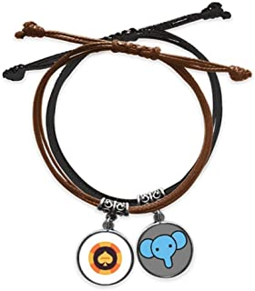 CaoGSH Bracelet en cuir avec motif éléphant jaune