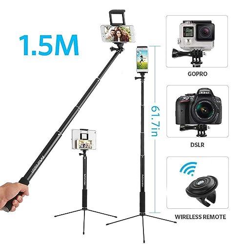 Perche à Selfie 1.5M Trépied avec TélécommandeBluetooth 360°Rotation Moreslan Long Trépied Selfie 3 en 1Perche Bâton Pliable MonopodeExtensible jusqu'à 1.5M pour Téléphone, Gopro, SLR