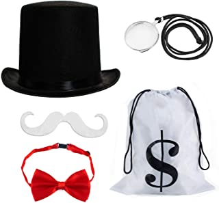 Tigerdoe Rich Uncle Costume Accessories - Board Game Costume - Costume Money Bags - Rich Man Top Hat - 5 Pc