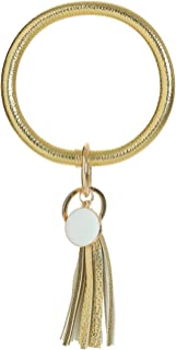 Creative Wristlet Keychain Bracelet Bangle Keyring,Large Circle Key Ring Leather Tassel Bracelet Holder For Women Girl