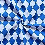 STOFFKONTOR Baumwollstoff Bayern Raute Meterware Blau Weiss