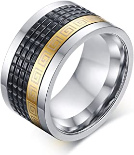 LILILEO Jewelry 12mm Stainless Steel IP Gold And Black Plating For Men's Rings(Spinner)