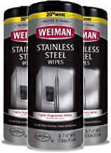 Weiman Stainless Steel Cleaner Wipes (3 Pack) Removes Fingerprints, Residue, Water Marks and Grease from Appliances - Work...