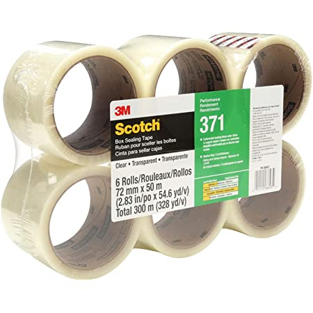 Rolls 3M Scotch 371 Commercial Packaging Tape 1.9 mil x 72MM X 100M Clear