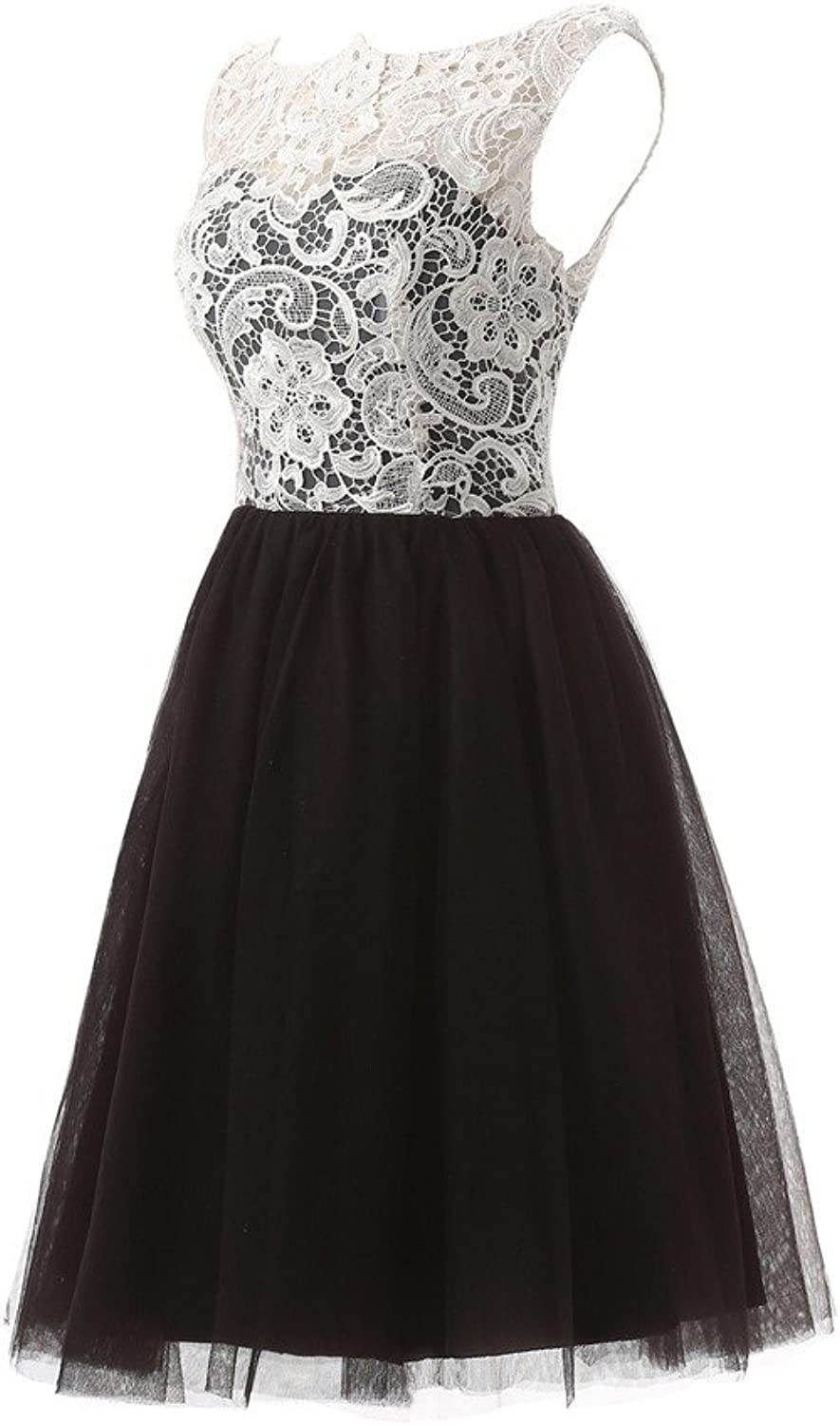 YSFS Women's Scoop Neck Lace Tulle Mini Short Homecoming Dresses Prom Party Gowns