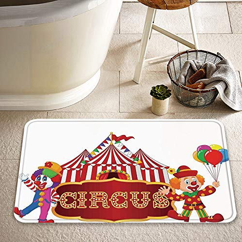JISHENG Extra Long Bath Mat 60x100 cm,Circus Decor,Circus Tent with Clown Advertisement Event Man Billboard Waving Classic,Microfiber Non-slip Bath Rugs Soft Washable Bath Shower Rugs for Bathroom