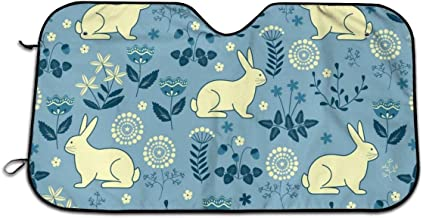 Bunny Forest Rabbit Universal Car Windshield Sun Shade 27.5 X 51.2in Car Front Window Sunshade-Uv Protection and Keeps Your Car Cool Heat-Universal Fit Easy Fold Storage