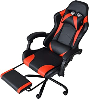 CYBER-GROUND ゲーミングチェア オフィスチェア デスクチェア フットレスト 170度 リクライニング バケットシート クッション ソフトレザー タンスのゲン 椅子 チェア レッド 31510016 01 (63949)