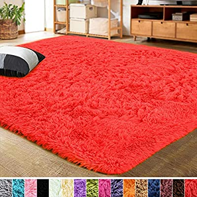 LOCHAS Ultra Soft Indoor Modern Fluffy Area Rugs Fluffy Living Room Carpets for Children Bedroom Home Decor Nursery Rug, 3x5 Feet Red