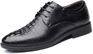メンズシューズ 靴 男性 ビジネス オックスフォード カジュアル クラシック ワニパターン レースアップ 正式 シューズ 通気性 (Color : ブラック, サイズ : 24 CM)