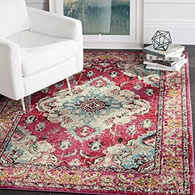 Safavieh Monaco Collection MNC243D Vintage Oriental Bohemian Pink and Multi Distressed Area Rug (6'7  x 9'2 )