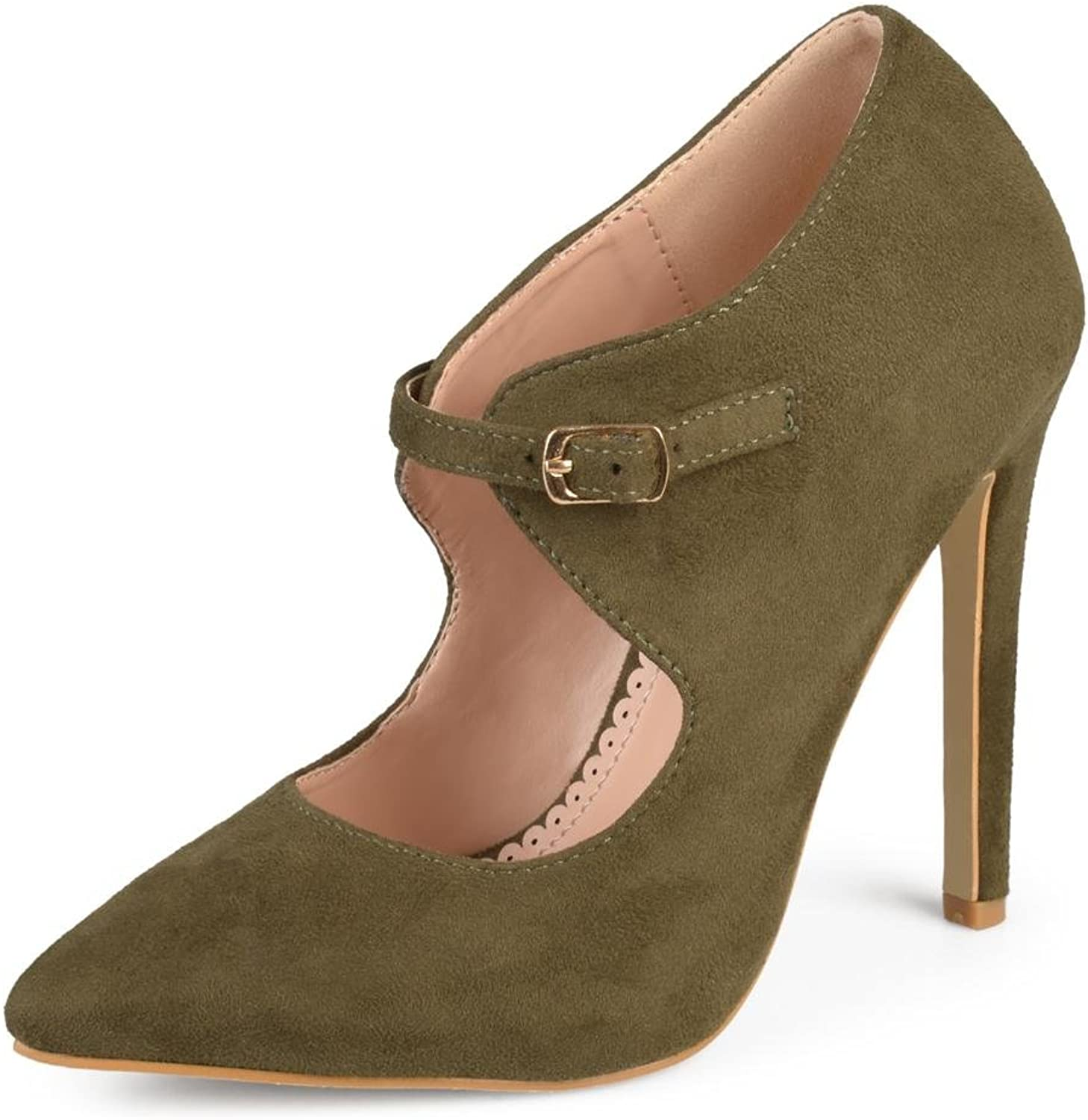 Brinley Co Womens Faux Suede Pointed Toe Cut-Out Heels