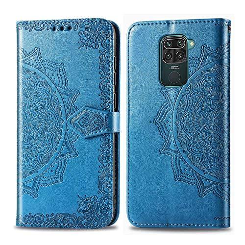 Bear Village Hülle für Xiaomi Redmi Note 9 / Redmi 10X 4G, PU Lederhülle Handyhülle für Xiaomi Redmi Note 9 / Redmi 10X 4G, Brieftasche Kratzfestes Magnet Handytasche mit Kartenfach, Blau