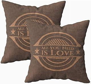 Ducan Lincoln Pillow Case 2PC 18X18,Funda De Almohada De Arte,Fundas De Funda De Almohada De Tiro Cuadrado,Todo Lo Que Necesitas Amor Emblema De Madera Realista Cojín De Ambos Lados