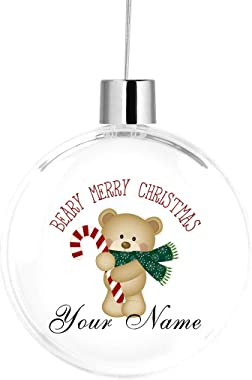 BRGiftShop Personalized Custom Name Cute Brown Teddy Bear Merry Christmas Large Round Ball Tree Ornament