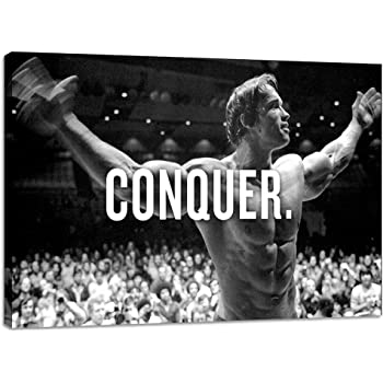 ARNOLD SCHWARZENEGGER POSTER  CONQUER GYM MOTIVATION QUOTE A3 A4 SIZE