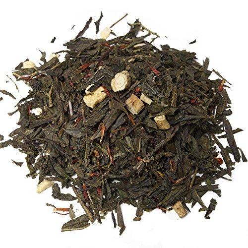 Aromas de Te - Te Verde Ginseng Coreano Pasion - Con Te verde, Raiz de Ginseng, Trozos liofilizados de Fruta de la Pasion y Aromas - Estimulante - Vitaminas A y C - 100 gr.