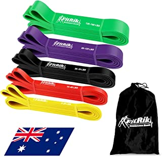 FitRik Skin Friendly Heavy Exercise Resistance Bands Set - 5 Levels Multi-coloured Fitness Workout Bands - Natural Latex E...