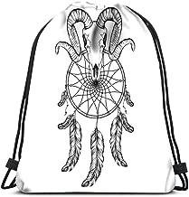 Gym Drawstring Bags Goat Skull Doodle Dotwork Fullface Of Ram Deer Horned Animal Sport Storage Polyester Bag For Gym