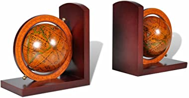 vidaXL World Map Globe Bookends, for Shelf Decorative Heavy Book Ends A Pair, Antique Style, Art Books Shelves Design Office