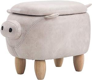 Ottomane e poggiapiedi Qualità Premium Confort Cartone animato in legno massello sgabello pratico multi-funzione ripostiglio soggiorno camera da letto bianco marrone alto 35cm larghezza 49cm peso nett