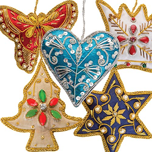 Luxury Christmas Tree Ornaments Handmade Decorations Set of 5 Beaded Embroidered Pearl Hanging Fabric Napkin Ring Hand Stitched Holiday Present Idea Xmas Stocking Decor Star, Heart, Crown, Butterfly