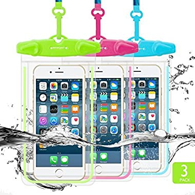 Universal Waterproof Case, FITFORT Waterproof Phone Pouch Dry Bag for iPhone X 8 7 6 Plus Galaxy S8 S7 Note 4 3 Up to 5.5Inches (Blue+Green+Rose Red)-3 Pack