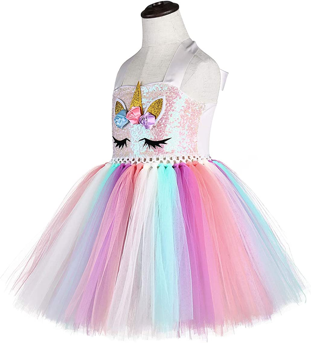 Tutu Dreams 3pcs Sequin Unicorn Dress with Wings and Headband for Girls 1-10Y Birthday Christmas Party Gifts