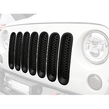 7-Piece Set Xprite Black Front Grill Mesh Grille Insert Kit for 2007-2018 Jeep Wrangler JK /& JK Unlimited