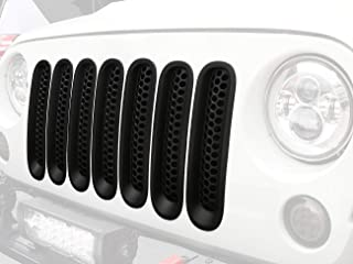 Hooke Road 7PCS Front Grill Mesh Inserts, Clip-in Deflector Guard for 2007-2015 Jeep Wrangler JK & Unlimited (Matte Black)