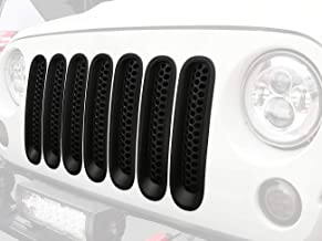 Hooke Road 7PCS Front Grill Mesh Inserts, Clip-in Deflector Guard for 2007-2015 Jeep Wrangler JK & Unlimited (Matte Black)