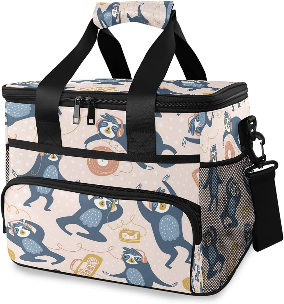 HMZXZ Large Lunch Bag low-pricing Animal 15L 24-Can Sloth sale Insulated Music