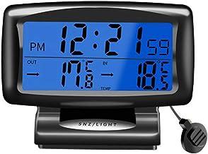 SANON Gran Pantalla Lcd Termómetro de Coche Reloj Despertador Digital Calibre 12/24 Horas Sistema Conmutable con Alarma de Luz de Fondo/Función de Repetición