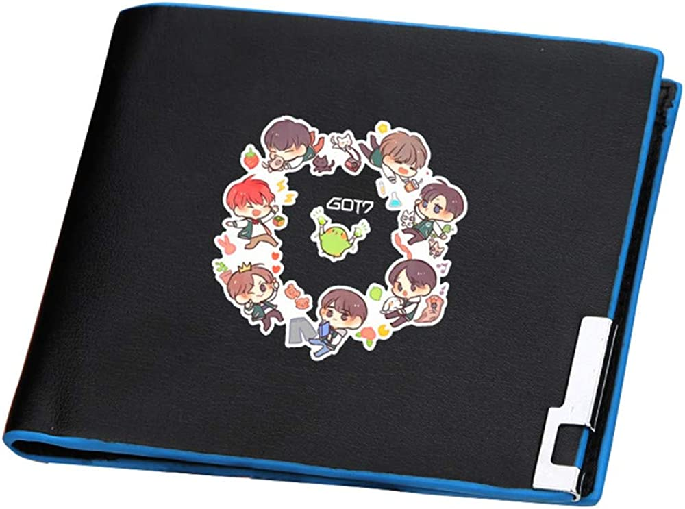 GOT7 Kpop Men Slim Short Wallets Pu Leather Brand Purses Cartoon ID Card Holder Women Hip-pop Money Bag Boys Notecase