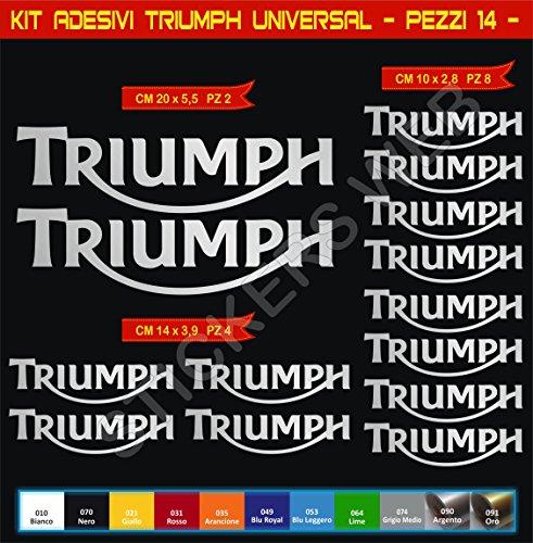 Pimastickerslab Aufkleber Stickers Triumph UNIVERSAL Moto Decal Bike-Motorrad- Cod. 0637 (Argento cod. 090)