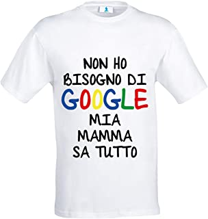 Simpatica T-shirt bambino e bambina Non mi serve Google il mio papà sa tutto!