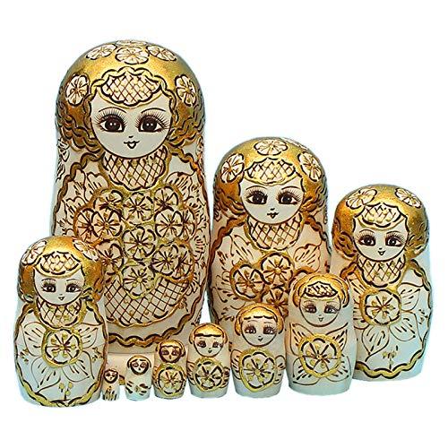 Mr.LQ Russische Matroschka-Puppen, 10 Traditionelle Matroschkas-Babuschka-Holzpuppen-Geschenkspielzeug, Handgefertigt In Russland